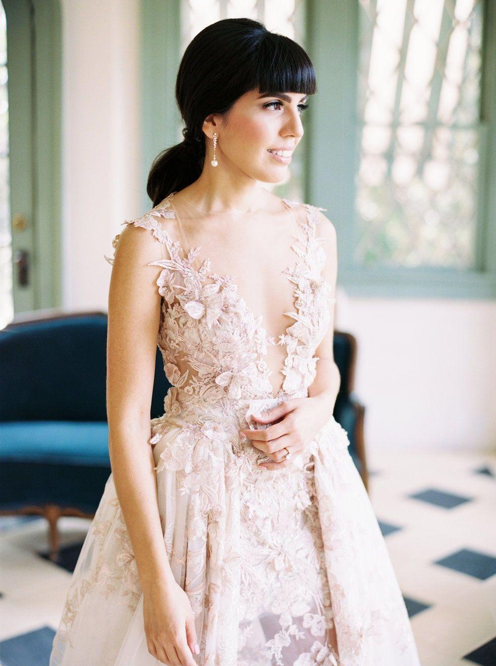 0188d44f192f A closer look atbeautiful #GLbride Laura Martinez's stunning #Llilyrose Galia  Lahav wedding dress. From the blush pink tone to the hand appliqués ...
