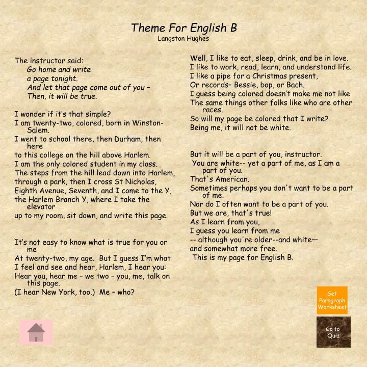 Theme For English B Langston Hughes  Elouise White  Drinks  Theme For English B Langston Hughes L