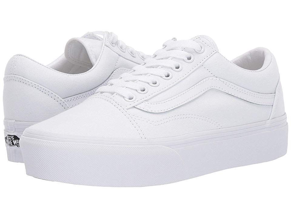 Vans Old Skool Platform Skate Shoes True White Whitelowtopvans Whitevans Bluevans Nikeclassiccortezleat Estilo De Zapatos Vans Blancas Zapatos Mujer De Moda