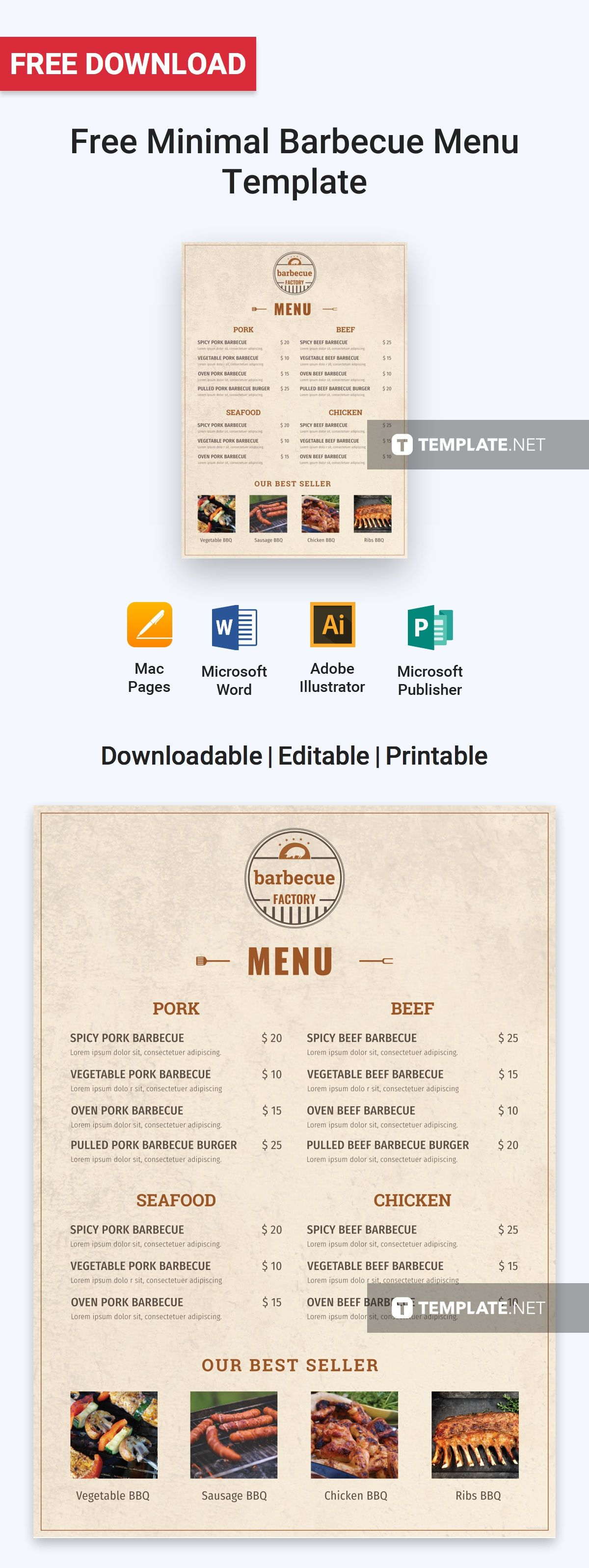 free minimal barbecue menu menu templates minimal and template