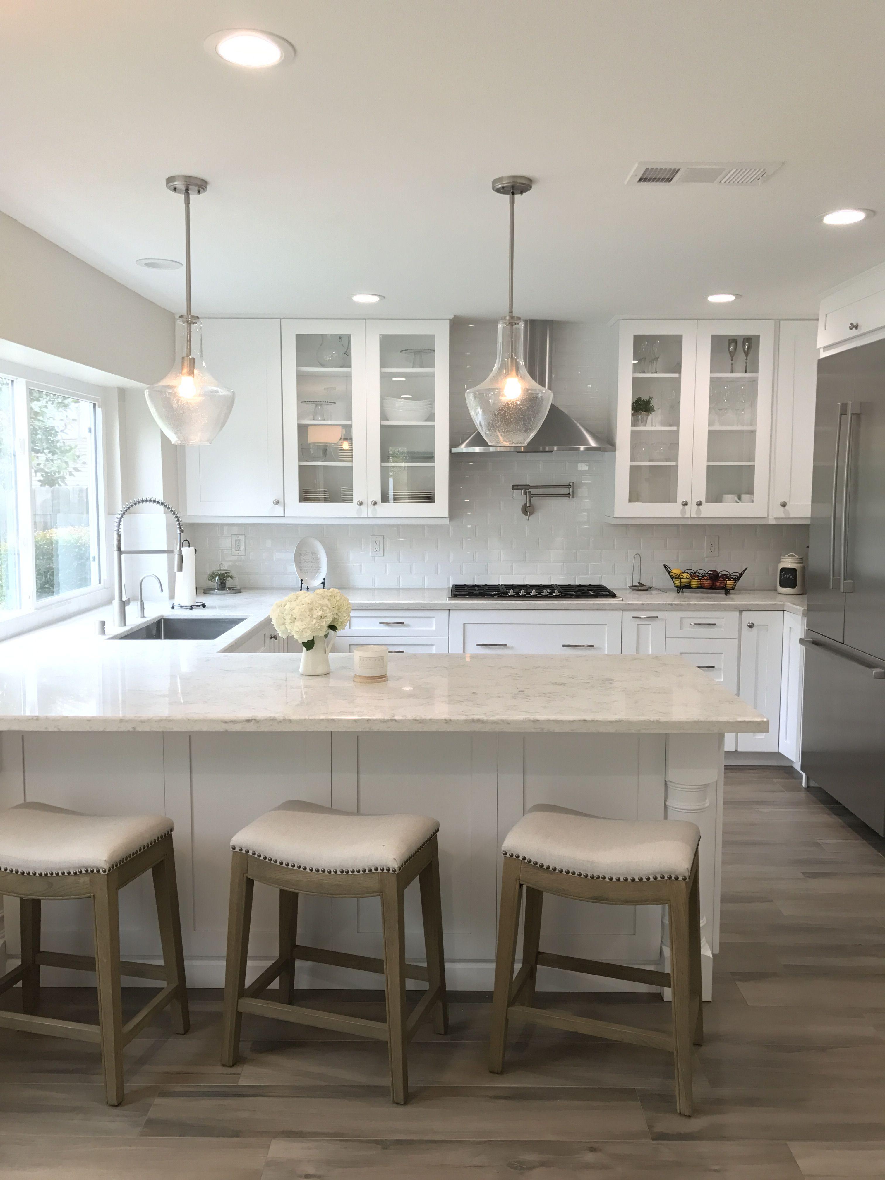 - Kitchen Design With Wood Look Porcelain Tile, Marbled Quartz