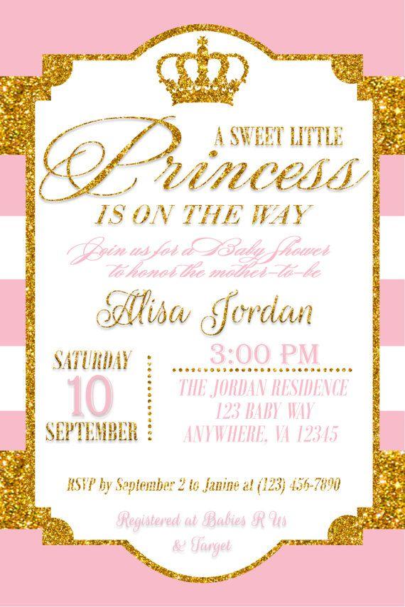 Gold Princess Baby Shower Invitation Baby Girl Shower Invitation