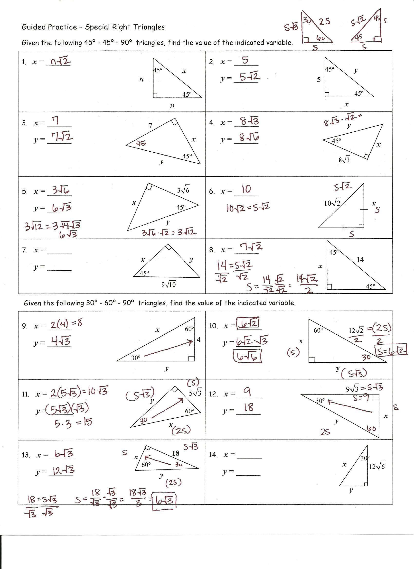Practice Worksheet Special Right Triangles Answers Kidz