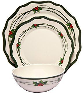 Melange 12-Piece 100% Melamine Dinnerware Set (Christmas Berry Collection ) | Shatter-Proof and Chip-Resistant Melamine Plates and Bowls | Dinner Pu2026 ...  sc 1 st  Pinterest & Melange 12-Piece 100% Melamine Dinnerware Set (Christmas Berry ...