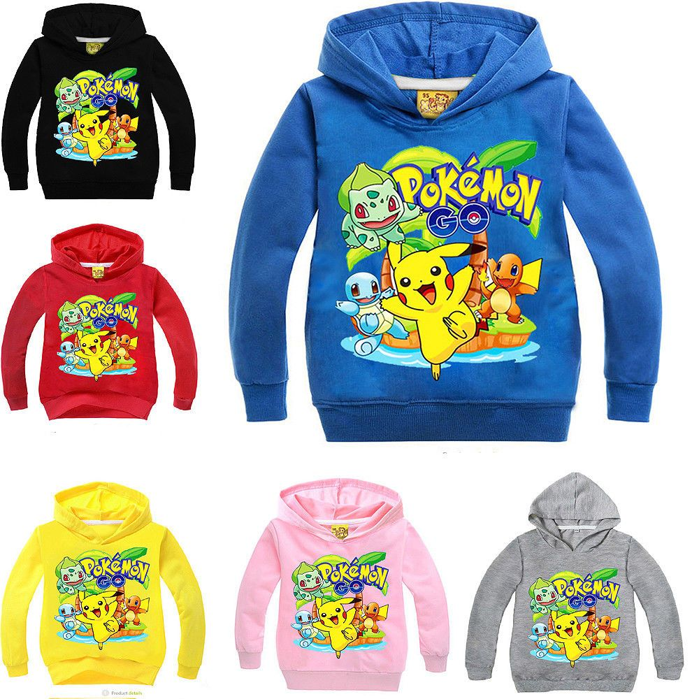 fe8de23bd3aa2 Pokemon Go Cartoon Boys Girls Kids Clothing Spring Autumn Hoodie ...