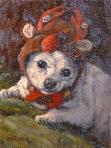 Chihuahua's Reindeer Hat Oil Painting Dog Art Pet Portrait ...