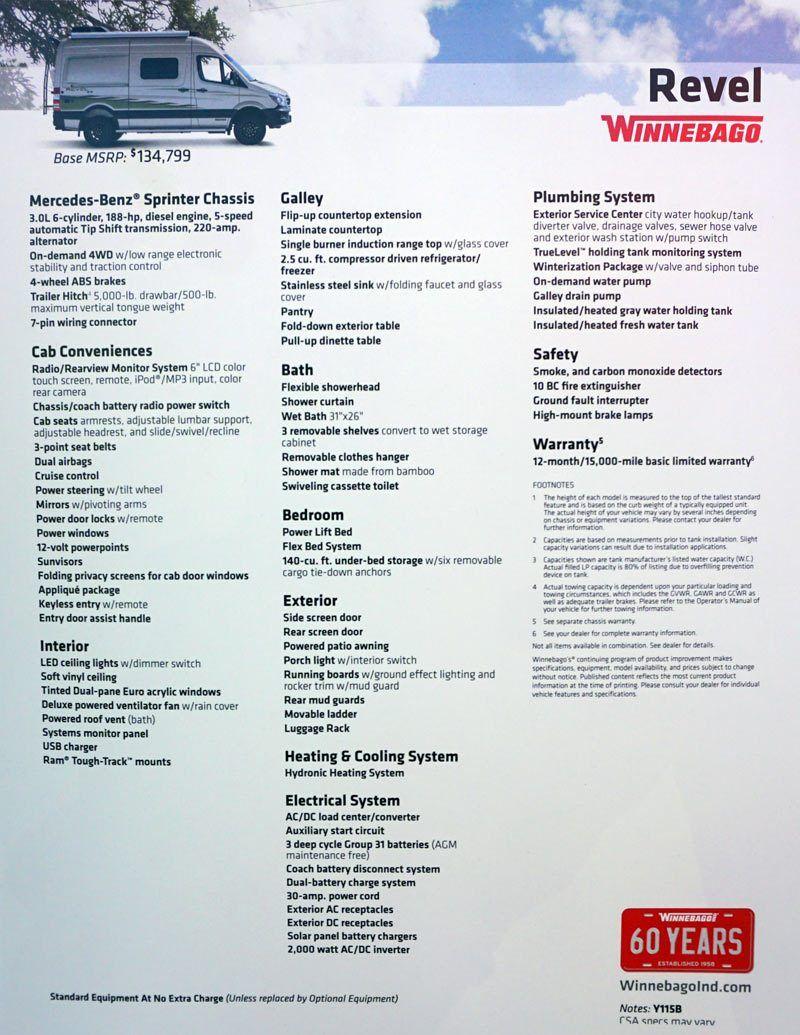2018 Winnebago Revel Sprinter 4x4 Conversion Van Specs And Price Sprinter Winnebago Revel