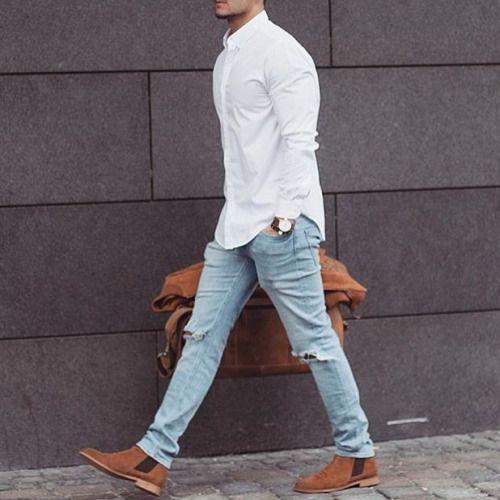 mens style white long sleeve collared shirt light denim