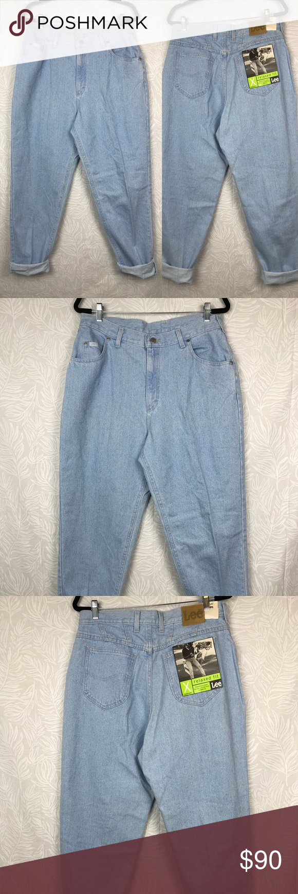 "a3f8c1c4 LEE NWT vintage 90s mom jeans light wash high rise Waist: 17"" Inseam ..."
