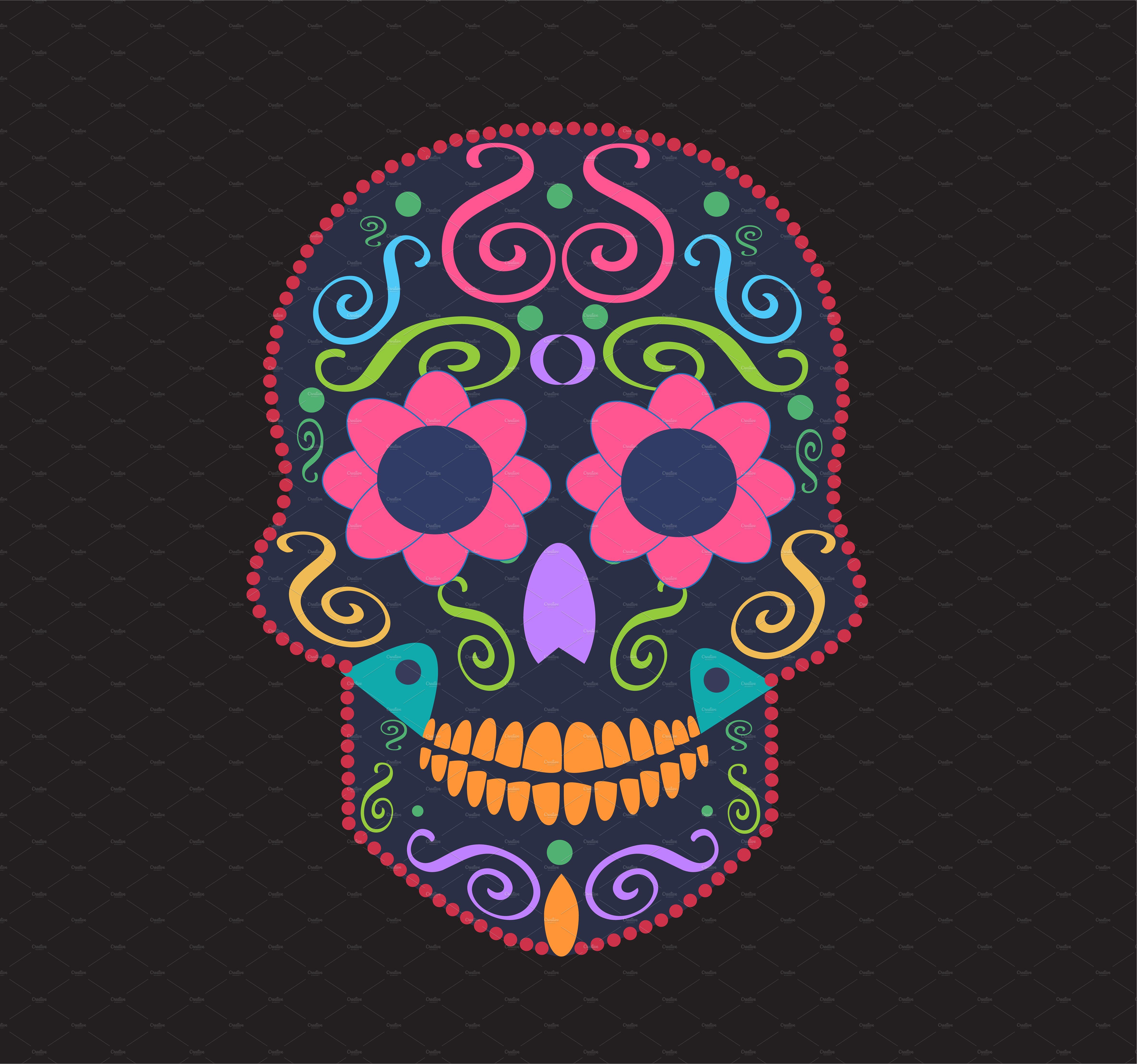 Skull vector neon colors by TeaGraphicDesign on