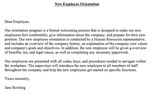 New Employee Orientation Letter New Employee Orientation Letter Sample Professional Cover Letter Template