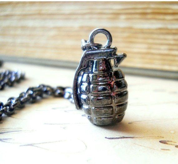 Gun Metal Grenade Necklace / Shiny Dark Gray Bomb Charm / Industrial Chic Jewelry, Heavy Metal Jewelry