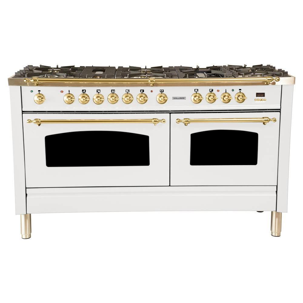 Hallman 60 In 6 Cu Ft Double Oven Dual Fuel Italian Range True Convection 8 Burners Griddle Lp Gas Brass Trim In White Hdfr60bswtlp Stainless Steel Griddle Drawer Design Commercial Kitchen