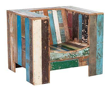 Butaca de madera de teca reciclada