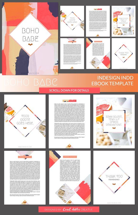 boho babe indesign ebook template | presentation design, Powerpoint templates