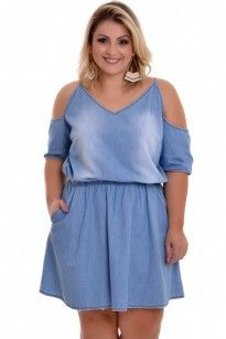 491643562 Vestido Plus Size Rute Jeans Plus Size Feminino   VK Moda Plus Size - Loja  Online