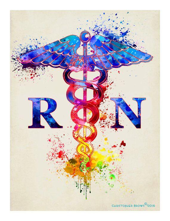 Watercolor Registered Nurse - Caduceus