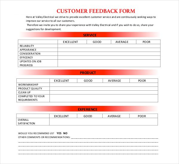 Electrical Customer Feedback Form  Isuzumux    Customer