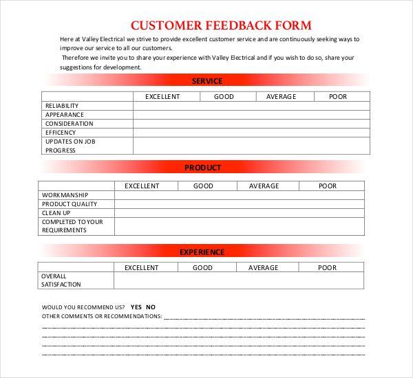 Electrical Customer Feedback Form Customer Feedback Feedback Form