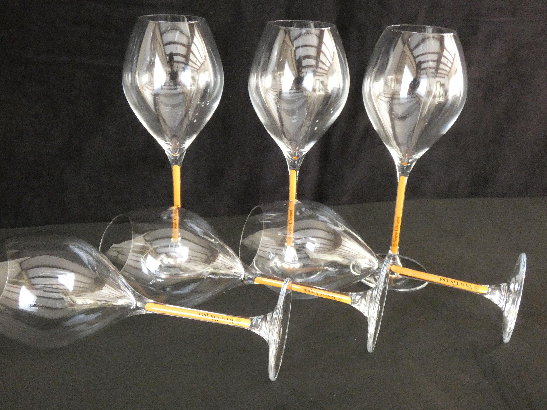 6 Veuve Clicquot Vcp Champagne Crystal Flutes Orange Stem 6 Etsy In 2021 Crystal Flutes Veuve Clicquot Wedding Glasses