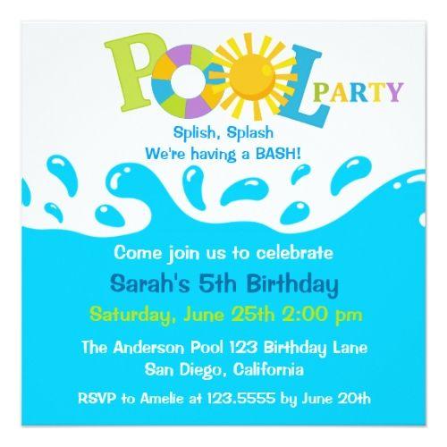 Pool Water Splash water splash boy pool party birthday invitation   boys
