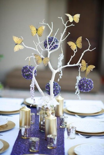 Quinceanera Centerpieces Blue Gold and Purple...