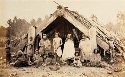 Maori Family, New Zealand, c.1880s by New Zealander Photographer