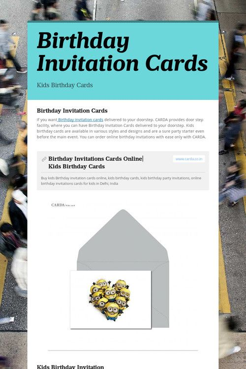 Birthday Invitation Cards Kids Invitations Party