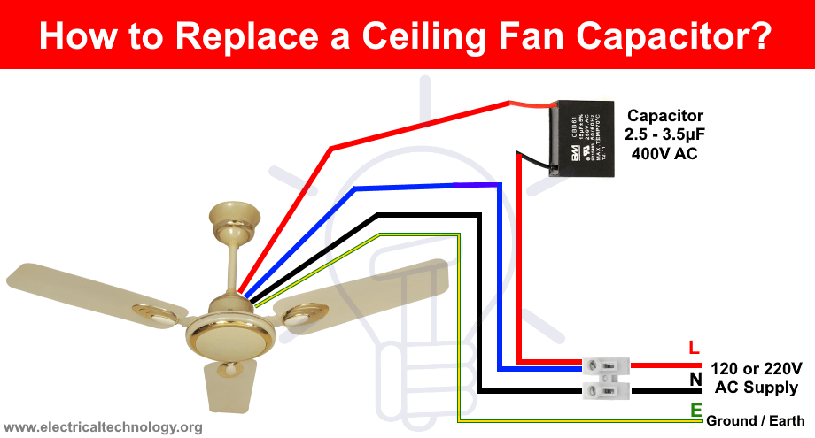 How To Replace A Capacitor In A Ceiling Fan 3 Ways Capacitors Electronic Engineering Ceiling Fan
