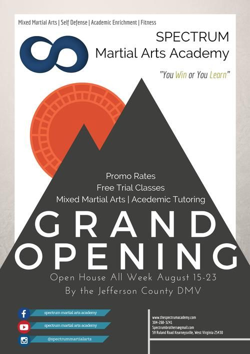 grand opening flyer and achievement system poster spectrum martial