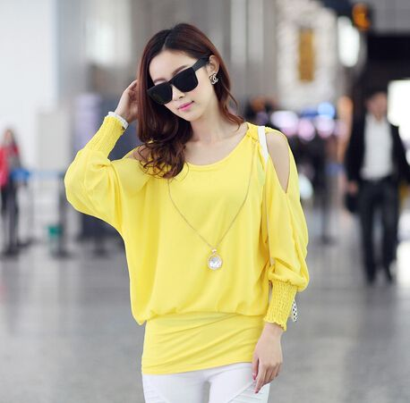 New Autumn 2014 Quality Ladies Clothing Blusas Femininas Long Sleeve Off The Shoulder Blouses For Women 3831 roupas femininas