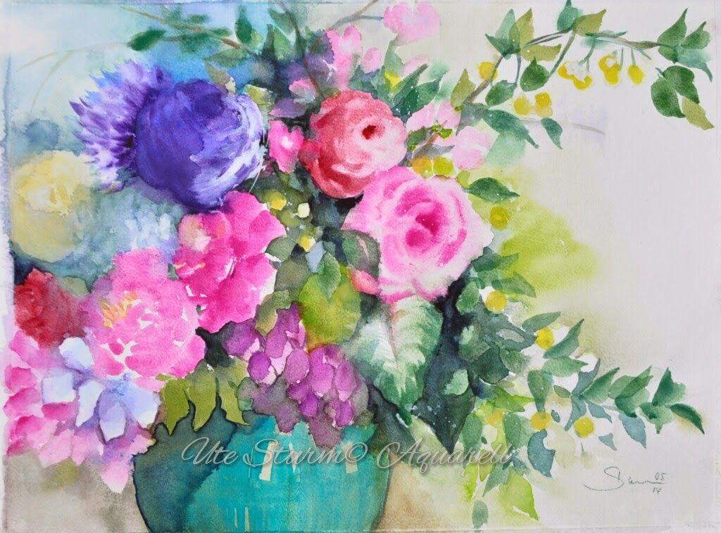 Aquarell Auf Leinwand Wie Man Blumen Malt Aquarell Art Floral