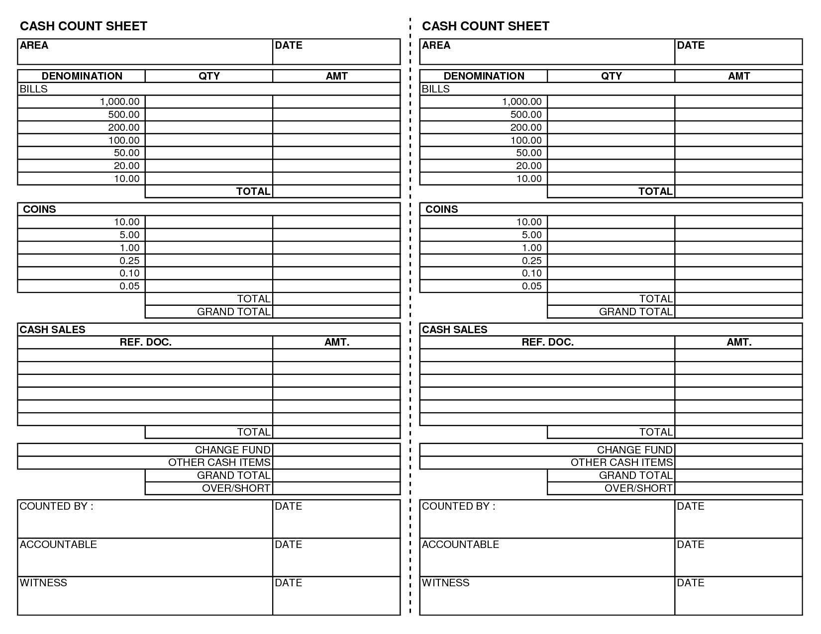 Cash Register Count Sheet Template