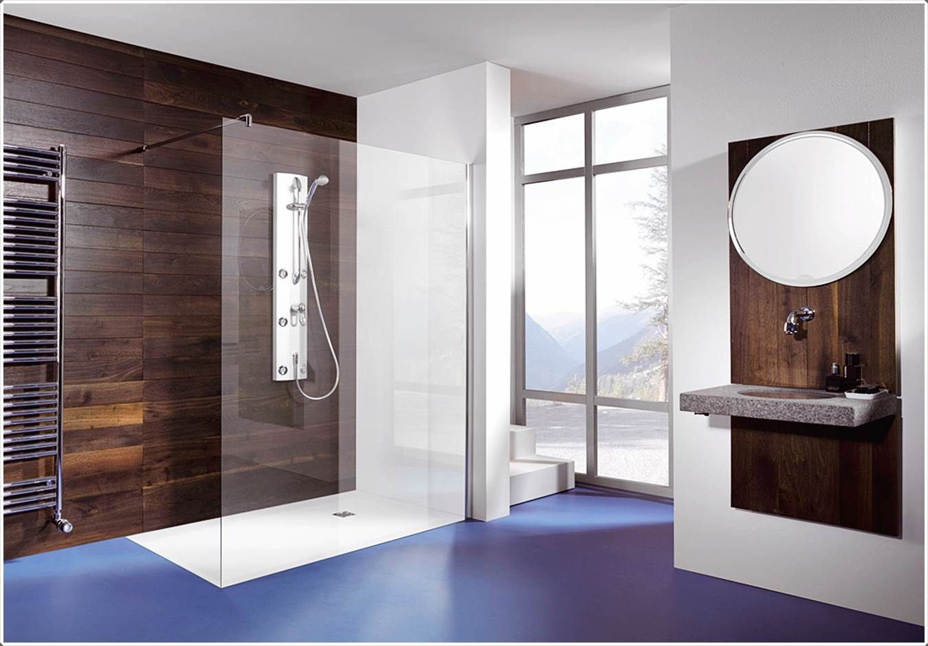 Bodengleiche Dusche Glaswand Duschwand, Dusche