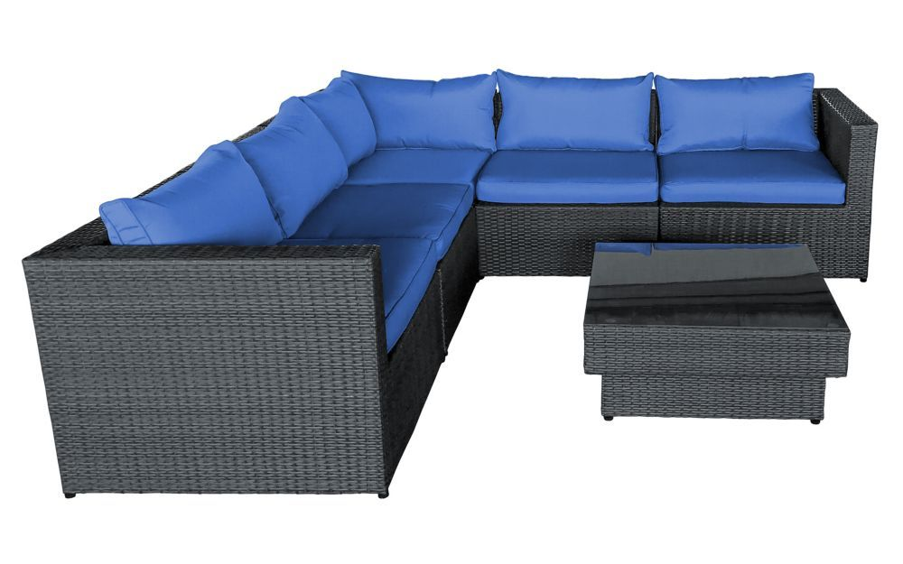 6 Piece Sofa Set With Blue Cushions Furniture Outdoor Sofa Sets Sofa Set