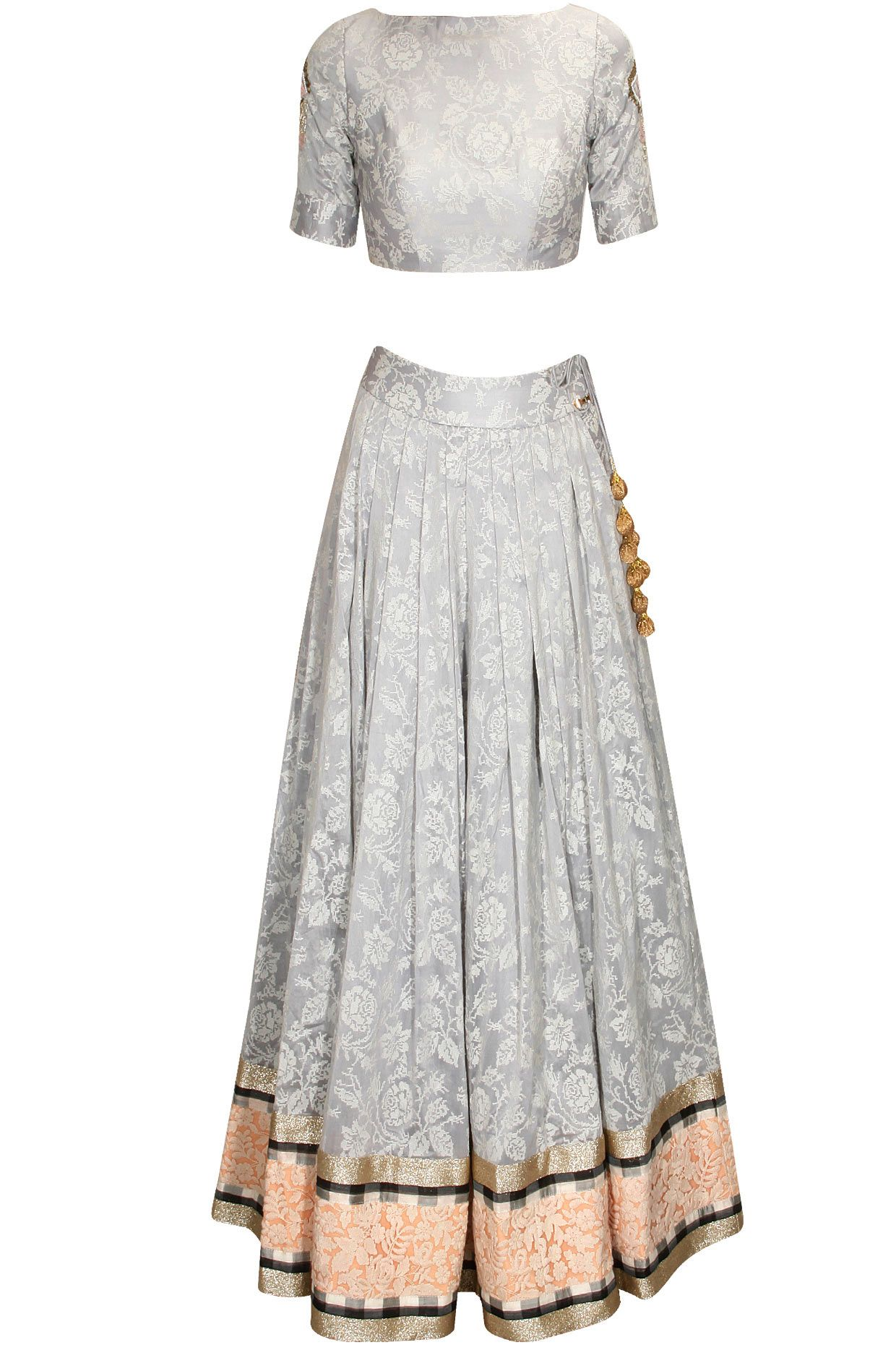 5fd5509223 Gray cross stitch rose embroidered crop top and skirt set available only at  Pernia's Pop Up Shop.