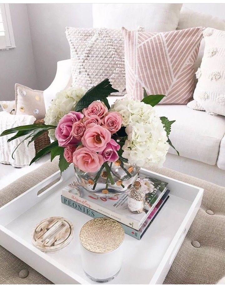 Coffee Table Decor Tray Decor With Many Flower Candle Books And Glass Pots It S Am Coffee Table Decor Tray Table Decor Living Room Decorating Coffee Tables