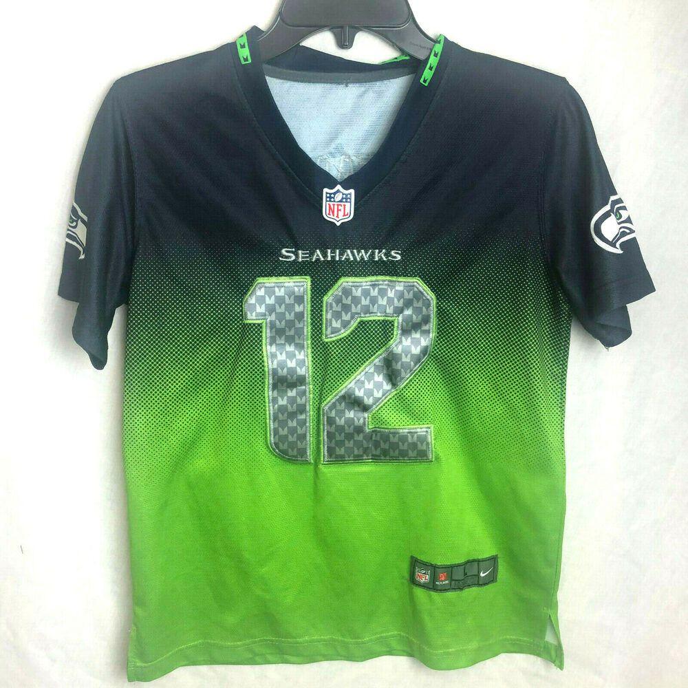 pretty nice 5cc0d 24ed5 Nike Boys Seattle Seahawks Fan Jersey Large 12 Blue Green ...