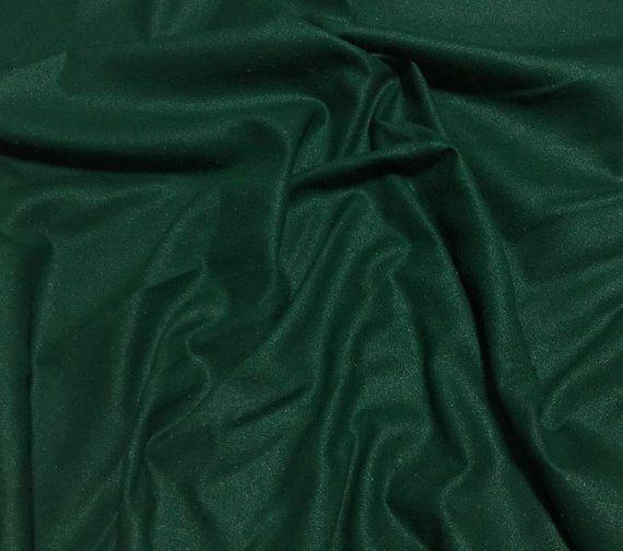 DARK GREEN Raw Silk NOIL Fabric