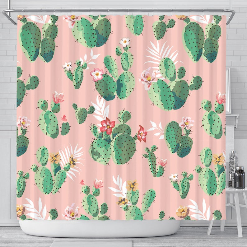 Cactus Shower Curtain Cactus Bathroom Decor Shower Curtain Etsy