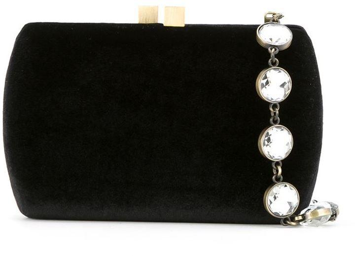 Serpui magnetic closure velvet clutch bag