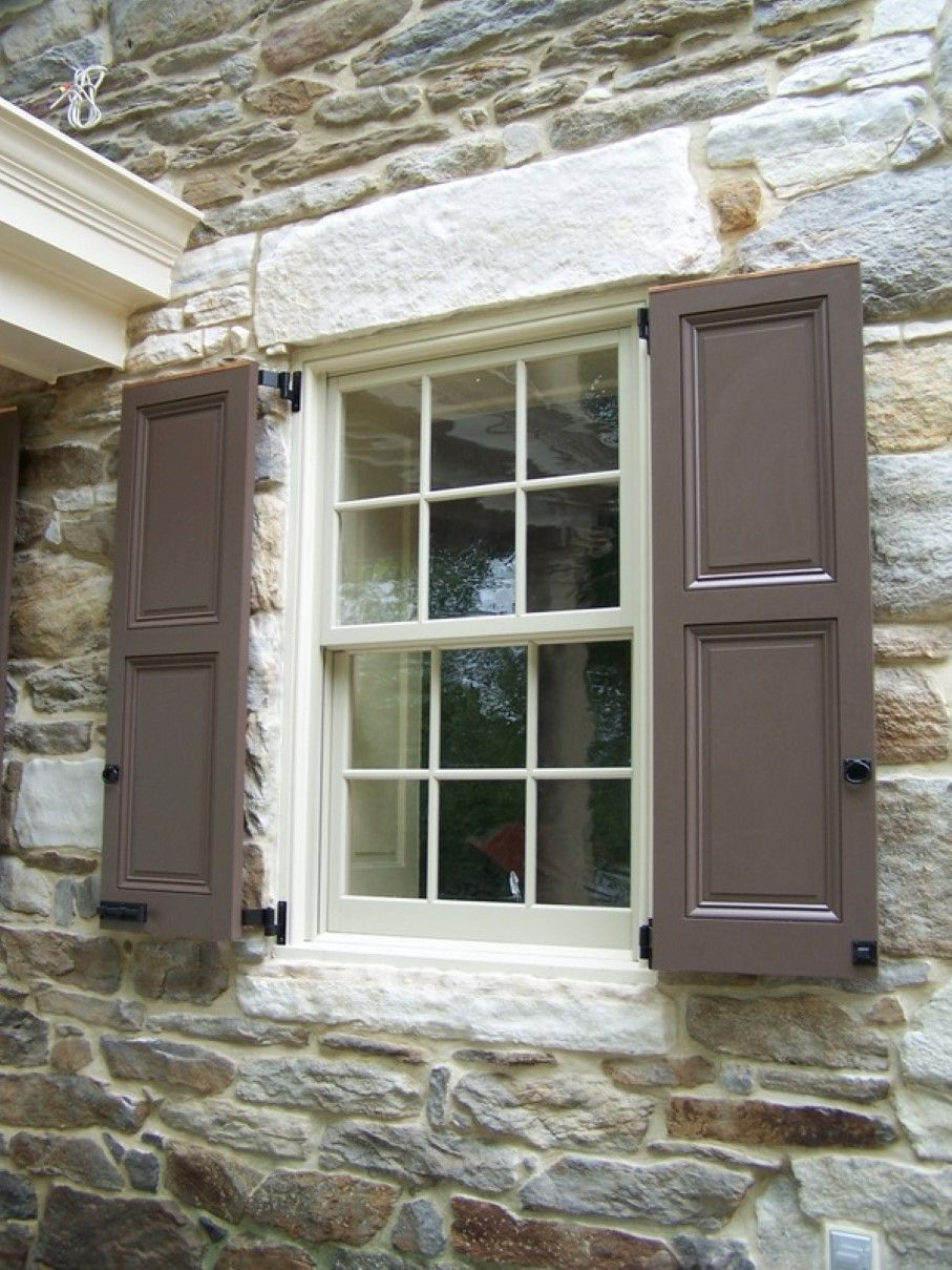 Contemporary Exterior Window Shutter With Gray Paint Color Idea