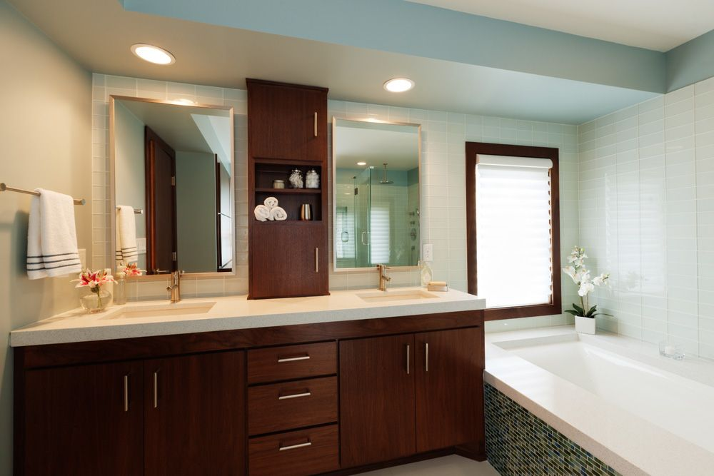 A Bathroom From Pink Chaos To Blue Tranquility Vanities - Semi custom bathroom cabinets for bathroom decor ideas