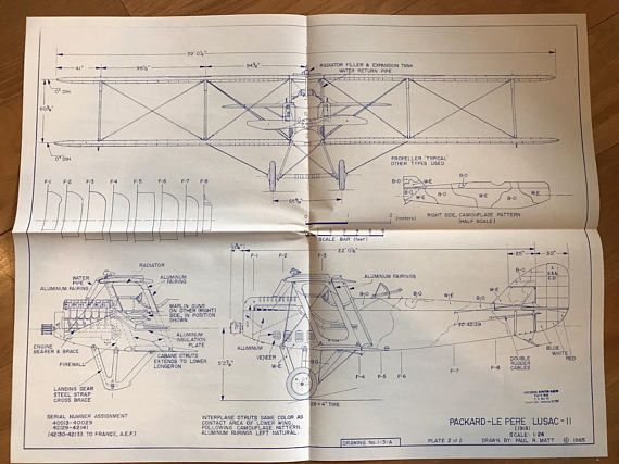 Airplane blueprint set packard le pere lusac ii pinterest pair of vintage airplane blueprint drawings dated 1965 by paul r matt the malvernweather Gallery