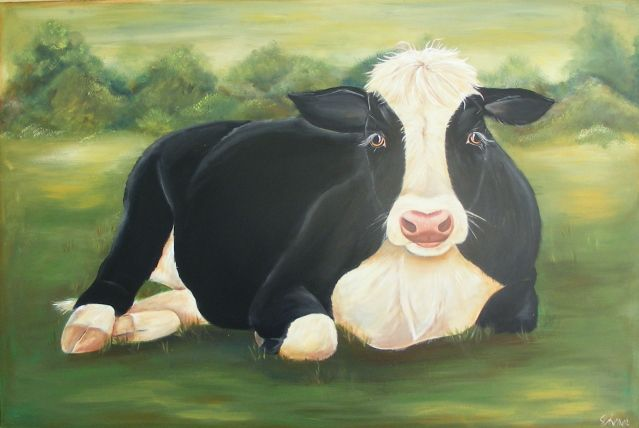 """Tonka"" cow painting by Lisa Scherer"