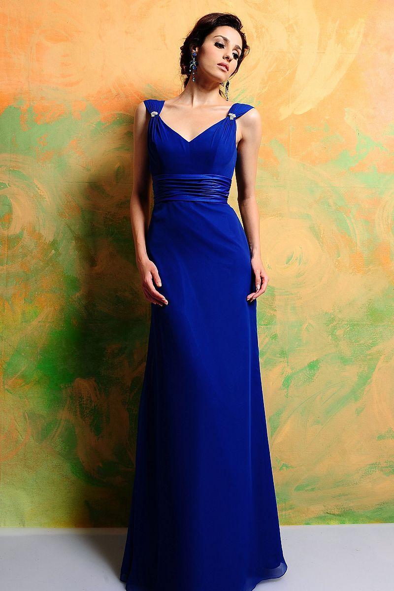 Spring Style Sheath / Column V-neck Ruffles Sleeveless Floor-length Chiffon  Royal Blue Bridesmaid Dress / Prom Dress / Evening Dress