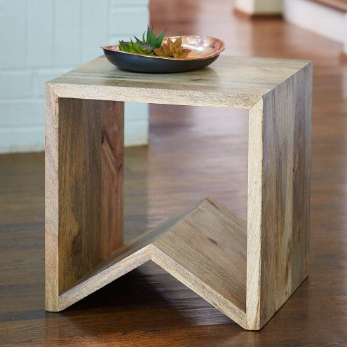 Multi Function Mango Wood Storage Cube U0026 Accent Table | VivaTerra