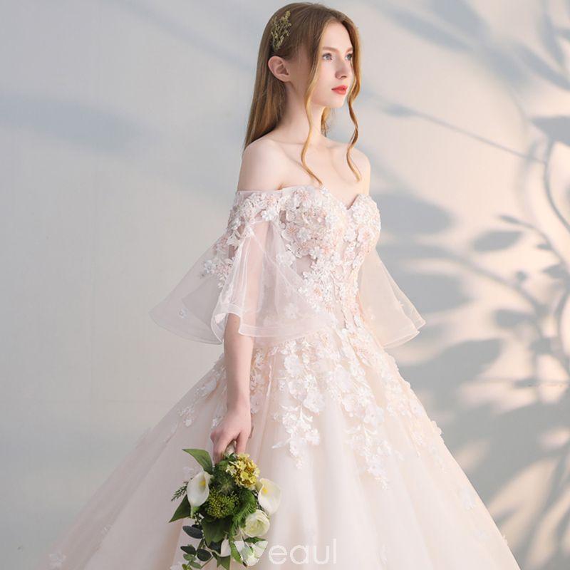 Elegant Champagne Wedding Dresses 2017 Ball Gown Off The Shoulder