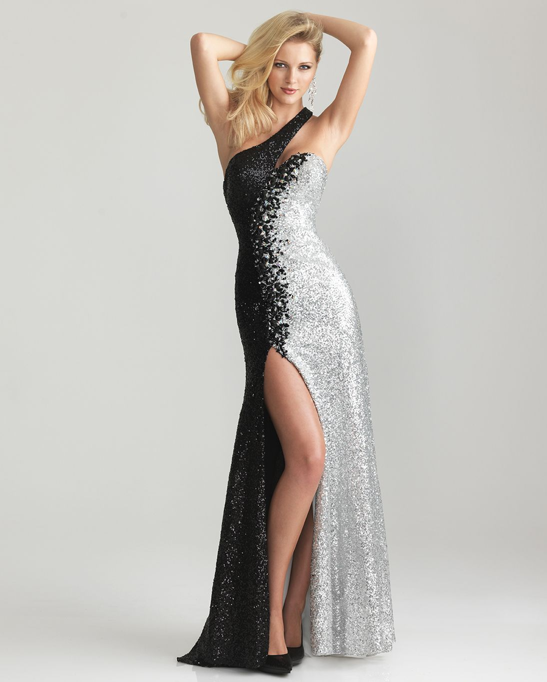 Fashion week Silver and Black sweetheart prom dresses pictures for lady