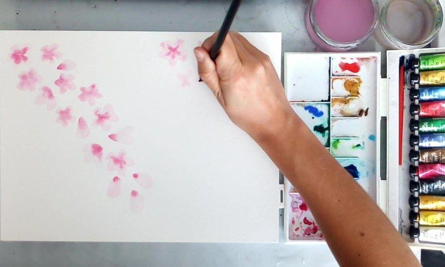 Peindre Des Fleurs De Cerisier A L Aquarelle Comment Peindre Des